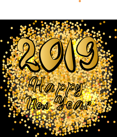 Happy New Year 2019 greeting banner design with typography on black background with glitters. Vector illustration
