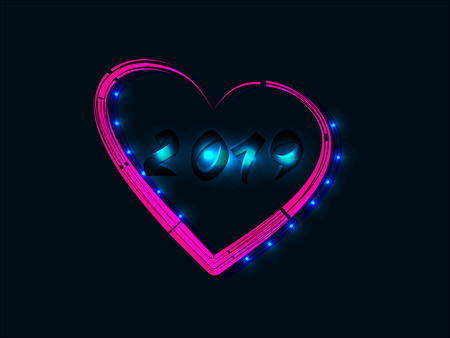 2019 New Year Concept with Colorful Neon Lights. Design Elements