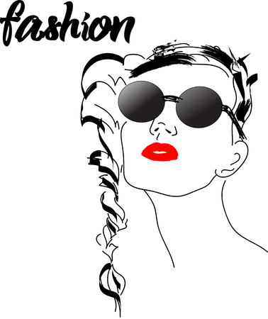Fast fashion sketch with girl in glasses vector EPS10  イラスト・ベクター素材