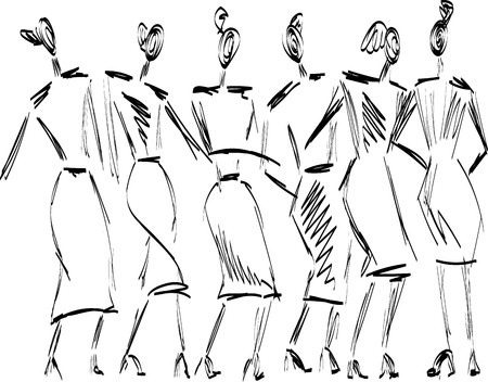 Fast hand-drawn fashion sketch with girls vector EPS10