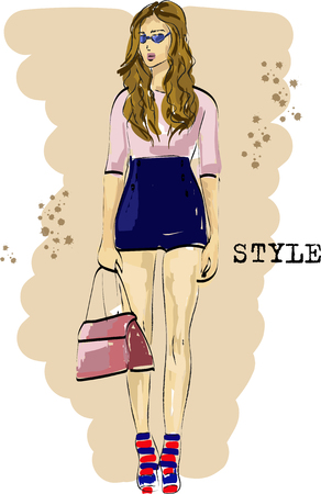 Fast fashion sketch with stylish girl vector EPS10