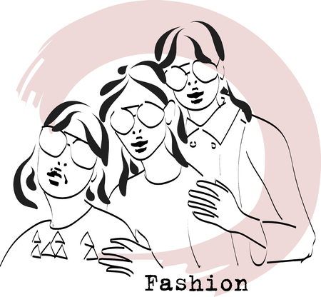 Fast fashion sketch with girls in glasses vector EPS10
