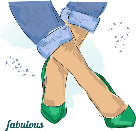 Cute hand drawn legs in green court shoes. Fashion accessories. Sketch. Vector illustration.