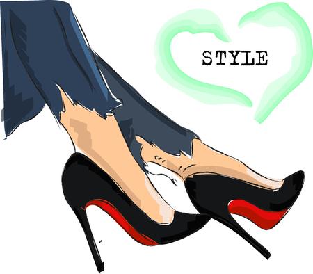 Jolies jambes dessinées à la main en escarpins noirs. Accessoires de mode. Esquisser. Illustration vectorielle.