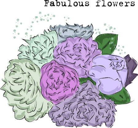 Fashion sketch of fabulous purple and pink flowers vector EPS 10  イラスト・ベクター素材