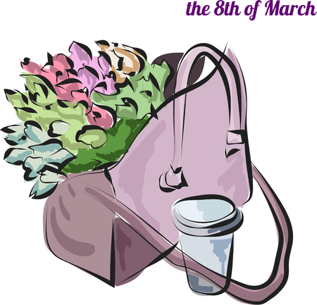 Bag with tulips and cup of coffee on march 8 th vector EPS10  イラスト・ベクター素材