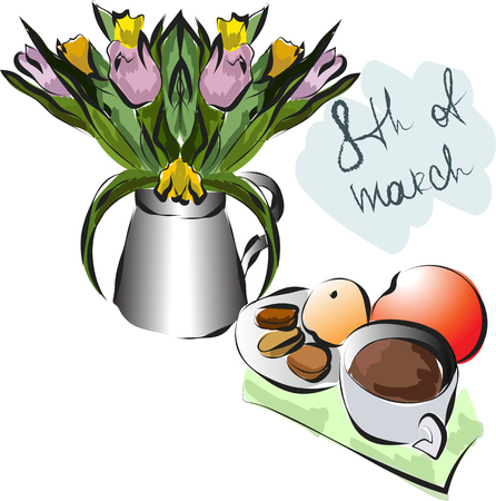 Card with tulips and cup of coffee on march 8 th vector EPS10