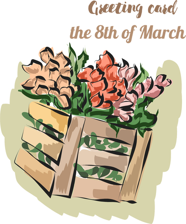 Card with tulips in basket on march 8 th vector EPS10