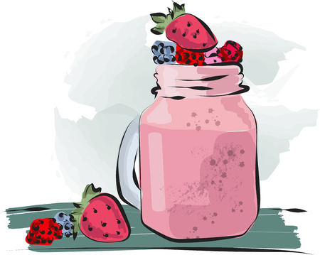 Hand drawn smoothie to go cup with strawberry illustration and lettering vector EPS10  イラスト・ベクター素材