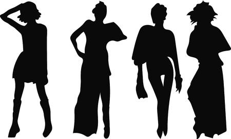 Conjunto negro silueta de una mujer sobre un fondo blanco. Ilustración de vector
