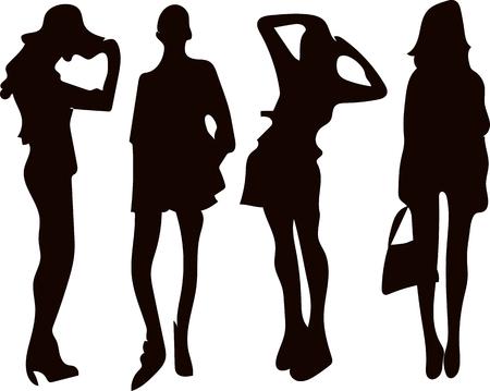 Zwart set silhouet van een vrouw op een witte achtergrond Vector Illustratie