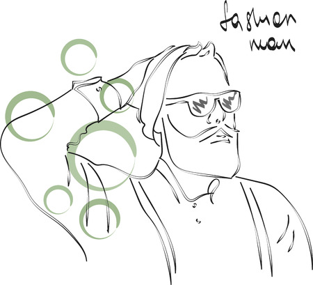 Fast fashion sketch with guy in glasses vector EPS10