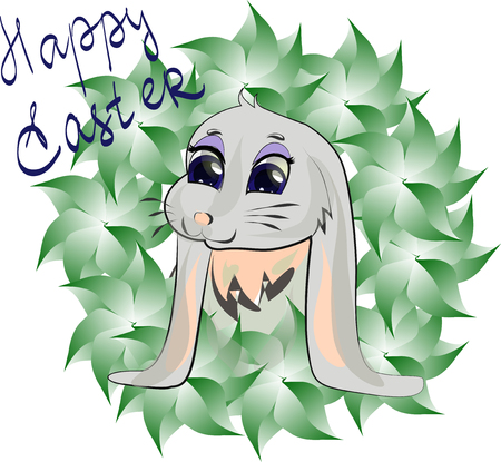 Happy Easter greeting card with Leaves and Bunny. Vector illustration.