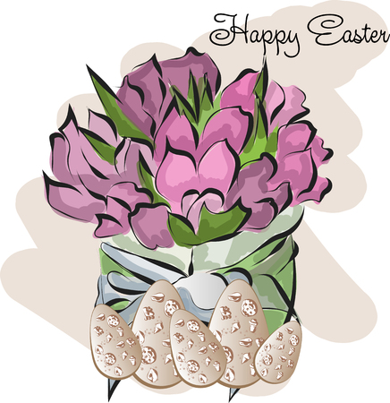 Happy Easter Greeting Card with flowers and eggs