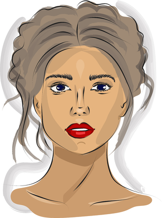 Fast portrait of woman with red lips