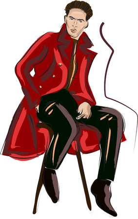 Fast fashion sketch with guy in red coat  イラスト・ベクター素材