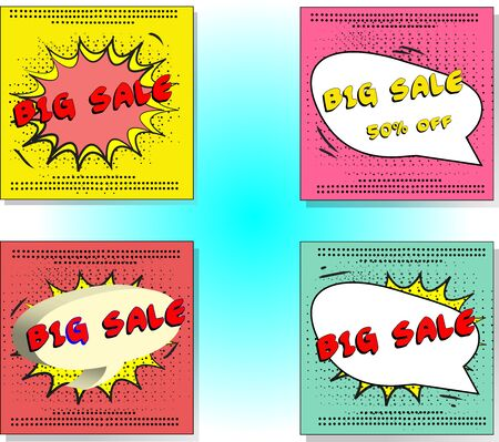 Set of Sale Vector Designs with social media banners, designs promotional material in pop art style Big Sale