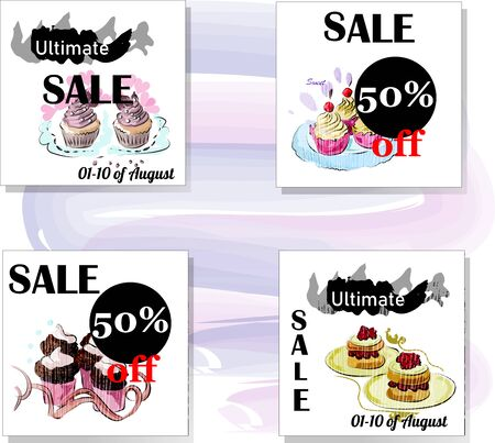 Set of Sale Vector Designs with social media banners, designs promotional material in graphic style  イラスト・ベクター素材