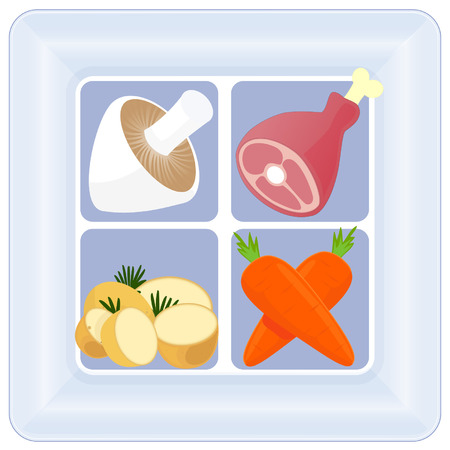 heathy: A square meal of mushroom,potatoes,carrot and ham