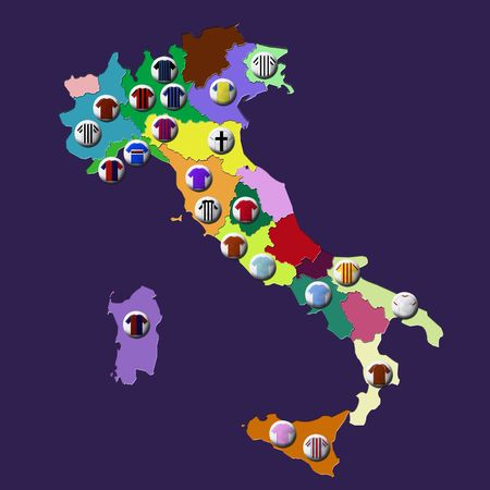 Map of Italy with football clubs location marked by t-shirts with their colors.