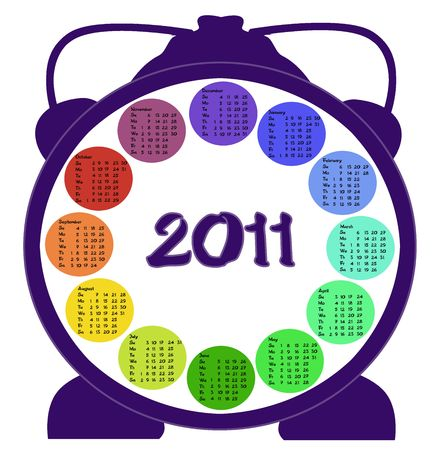 Calendar for year 2011 made as alarm clock Stock Photo - 8066236