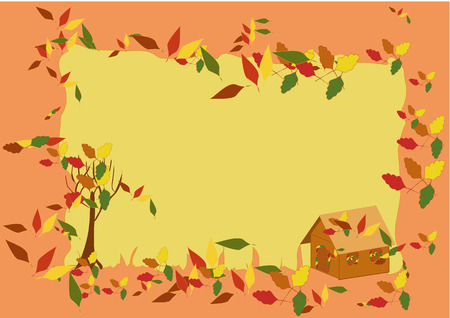 Vector autumn frame with coloured leaves on house, tree and all over the frame