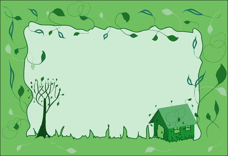Vector spring frame with green sprouts on house and tree and with leaves and heart-like curls on background