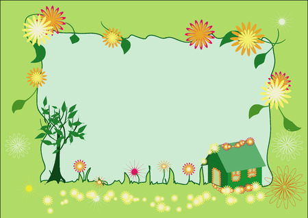 Vector summer frame with coloured flowers on house and all over the frame and green leaves
