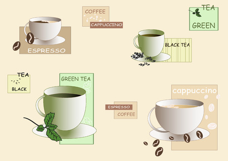 Cups of different coffees and teas with signs over peacr background.