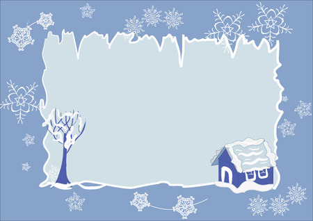 Vector winter frame with snowed house and tree and with snowflakes on background Illustration