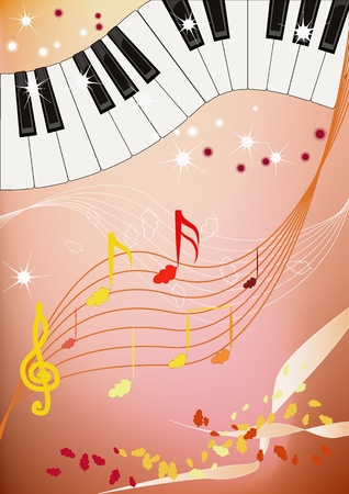 Musical pattern with piano keyboard and leaves like notes. Vector