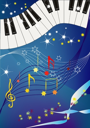 piano keyboard: Musical pattern with piano keyboard and leaves like notes.