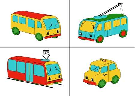 trolleybus: Four representatives of public conveyances - bus, trolleybus, tram and taxi - drawn in child style with faces.