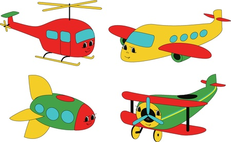 supersonic: Four air transport representatives - rocket, helicopter and two airplanes - drawn in child style with faces.