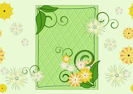 Mostly green pattern with frame, leaves and flowers. Illustration