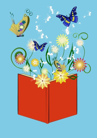 Red Book with plants and flowers growing out of it and flying butterflies.