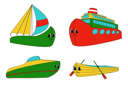 sailer: Four water transport representatives - boat, sailer, launch and motor ship - drawn in child style with faces. Illustration