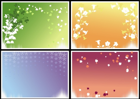 Four frames with seasonal theme and halftones. Vector
