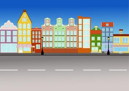 Quiet european city street in vector.