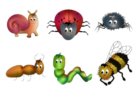 Six insects - snail, ladybird, spider, ant, caterpillar and bee - child-like drawn with faces Stock Vector - 9349942