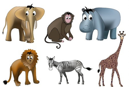 Six african animals - elephant, monkey, hippopotamus, lion, zebra and giraffe - drawn in kind child style