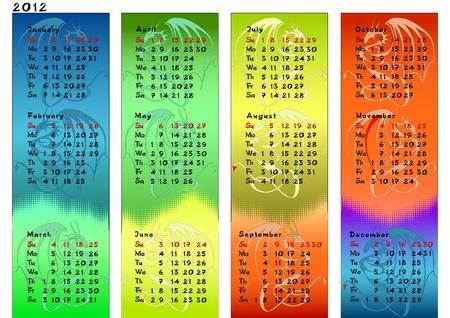 Vector dragon calendar for year 2012.