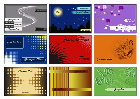 Collection of nine vector cards of different styles.