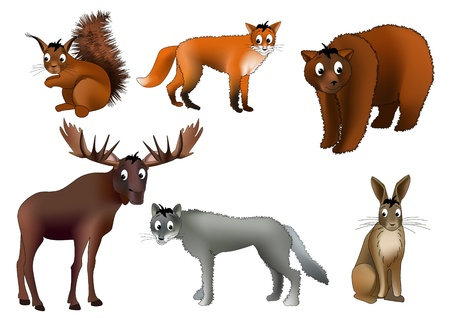 Six european animals - squirrel, fox, brown bear, elk, wolf and hare - drawn in kind child style Illustration