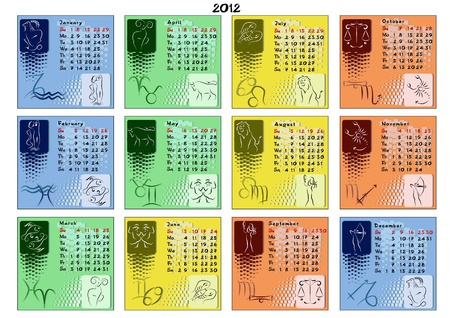 Vector calendar for year 2012 divided by seasons and with zodiac signs on every months view.