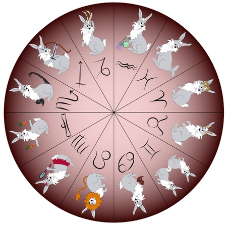 Rabbit - symbol of year 2011 - charactered as Zodiac signs. Vector