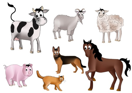 Seven domestic animals - cow, goat, sheep, dog, horse, pig and cat - drawn in kind child style Illustration