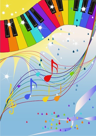 play music: Musical pattern with raibow colored piano keyboard and raindrops like notes.