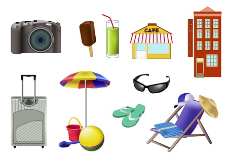 Set of useful for vacation things. Illustration