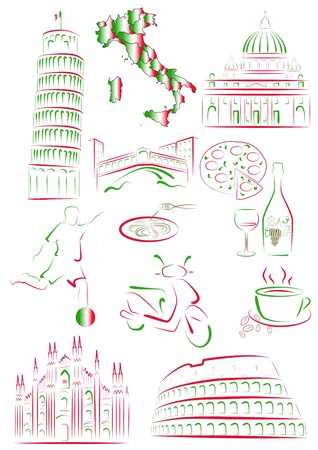 cultura italiana: Set di trarre monumenti stilizzati e simboli d'Italia.